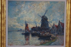 "Painting by Arthur V. Diehl, o/p, signed LR28 5/8"" x 33 ¾"" w/frame21 ½' x 27"" w/out frameAmerican, 1870-1929Fishermen in boats in harbor, windmills"